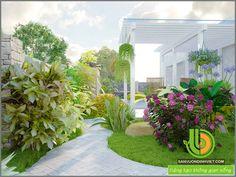 phối cảnh thiết kế thác nước sân vườn