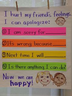 Demonstrate appropriate social and classroom behavior. This would show to the students the classroom way to apologize. Classroom Behavior, Kindergarten Classroom, Kindergarten Posters, Kindergarten Anchor Charts, Kindergarten Lessons, Behaviour Management, Classroom Management, Preschool Behavior Management, Time Management