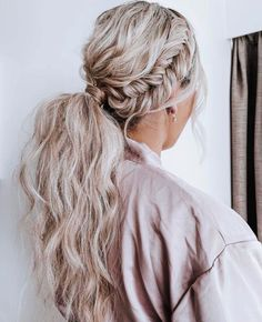 Wedding Ponytail Hairstyles, Bridal Ponytail, Bride Hairstyles, Down Hairstyles, Summer Hairstyles, Bridesmaid Hairstyles, Bridesmaid Hair Ponytail, Bridesmaid Long Hair, Long Hairstyles With Braids