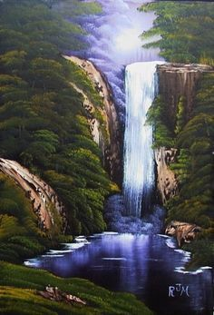 ideas for painting landscape waterfall bob ross Landscape Art, Landscape Paintings, Oil Paintings, Bob Ross Art, Inspiration Artistique, Waterfall Paintings, Bob Ross Paintings, The Joy Of Painting, Pictures To Paint