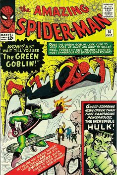 Marvel The Amazing Spider-Man No 14 1964 The Green Goblin The Hulk Spiderman Amazing Spiderman, Amazing Spider Man Comic, Incredible Hulk, Spiderman Classic, Rare Comic Books, Comic Book Artists, Comic Book Covers, Comic Books Art, Comic Artist