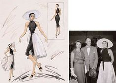 "This is the last of four vintage Edith Head sketches for actress Grace Kelly and the second costume design for ""To Catch a Thief."" This black and white ensemble was multi-purpose, but meant primarily for the beach.  All four sketches came to auction together. I don't know the results, but the estimate was that each sketch would bring £6,000 – £8,000."