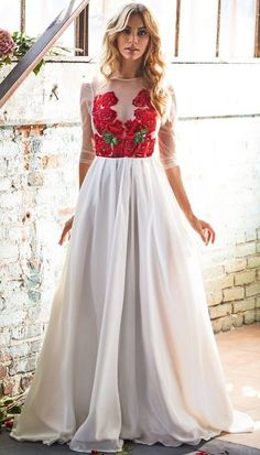 Simple Wedding Dress with Appliques Unique wedding dress with half sleeves vintage summer wedding bridal gowns