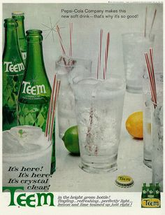 """1962 Soft Drink Ad, Pepsi-Cola's New Teem Soda, """"It's Crystal Clear!"""""""