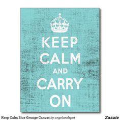 Keep Calm Blue Grunge Canvas Postcard