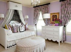 lavender bedroom - w/ white & cream - ottoman!!