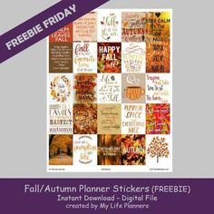 It's Freebie Friday time. This week in honor of the beginning of Fall, I have some Fall and Autumn stickers up for grabs. These stickers are x in size and fit most planners. Fall is a fav (Fitness Planner Free Planner, Planner Pages, Happy Planner, Weekly Planner, Printable Planner Stickers, Free Printable, Printables, Erin Condren Life Planner, Planners