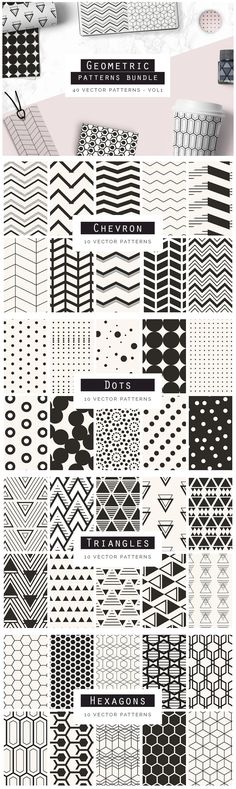 Geometric Patterns Bundle V1 - A great bundle of 40 Geometric Seamless Vector Patterns. These patterns are ...