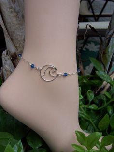 Silver Wave Anklet Ankle Bracelet Surfer Anklet by wavejewelry