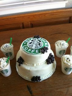 Starbucks cake!! Love the little cups on the side.