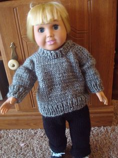 For 18 inch American Girl type doll. Grey turtle neck sweater shown with black knit pants available separately. etsy.com