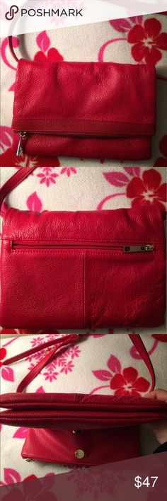 Red Leather Crossbody Handbag for Sale 👜 Adorable Red soft leather Crossbody Handbag - Excellent condition no marks! I bought this Handbag at a boutique which has no brand or label. Adjustable strap that can be removed to be a clutch. Purple satin interior with gold hardware. One exterior zip pocket and fold-over zipper. One interior zip pocket and two slip pockets. 6 1/2 inches long by 9 1/4 inches wide. Maximum 33 1/2 inches drop. Leather is supple and a true red. Make me an offer😀 Bags…