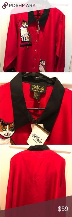 BOB MACKIE SILK BUTTON SHIRT NWT= LIPSTICK RED WITH BLACK TRIMMING CAT 🐱 APPLIQUÉS BOB MACKIE Tops Button Down Shirts