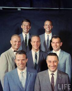 The Mercury Seven: Walter M. Alan B. Scott Carpenter, Donald K. Slayton, L. Gordon Cooper, Virgil I. Mercury Seven, Gus Grissom, Cosmos, Apollo Space Program, Project Mercury, John Glenn, Apollo Missions, Nasa History, Astronomy