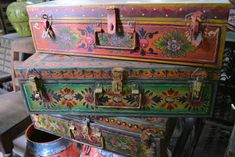 Hand painted old metal trunks found on our recent india buying trip Painted Suitcase, Painted Trunk, Painted Chest, Painted Boxes, Painted Furniture, Hand Painted, Vintage Suitcases, Vintage Luggage, Bohemian Decor