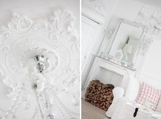 Beautiful ceiling medallion and chandelier over @ White and Shabby