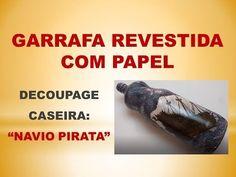 DIY - Garrafa com Papel e Decoupage Caseira - YouTube