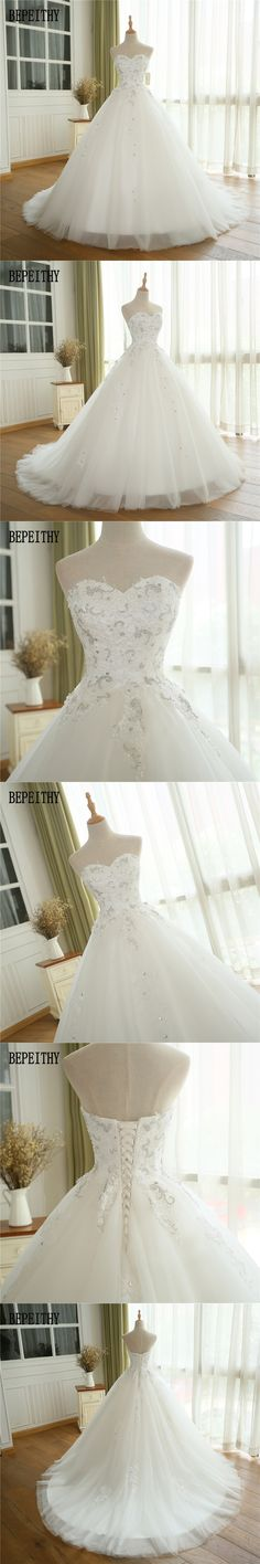 BEPEITHY Real Photo Elegant Vestidos De Noiva New Arrival Saudi Arabia Luxury Lace Sweetheart Ball Gown Wedding Dresses 2017