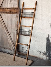 Ladder With Wire Display Basket *inspiration*