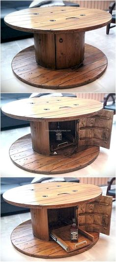 table is necessary in every room of the home, so here is an idea to create a unique recycled wood pallets cable spool table for the TV launch to make it look amazing. The design is easy to copy and it will surely look amazing in any area of the home. Wooden Spool Tables, Cable Spool Tables, Wooden Cable Spools, Cable Spool Ideas, Cable Drum Table, Wood Table, Wooden Pallet Furniture, Wooden Pallets, Wooden Diy