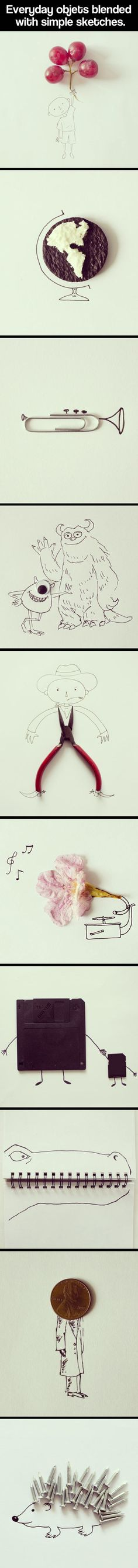 Geeky artist combines everyday items with simple sketches to create these imaginative scenes.