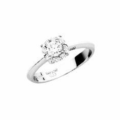 Κομψό και εντυπωσιακό δαχτυλίδι λευκόχρυσο Κ18 με μονόπετρο Brilliant σε  ροζέτα με περιμετρικά διαμάντια  4e5260c0c6f