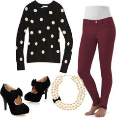 """""""polka dots and pearls"""" by whitney-elam on Polyvore"""