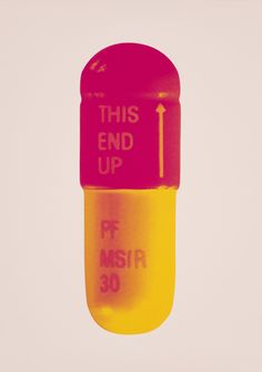 "Damien Hirst [UK] (b 1965) ~ ""The Cure - Powder Pink/Lollypop Red/Golden Yellow"", 2014. Silkscreen on Somerset Tub Sized 410gsm (72 x 51 cm).  #art #art_print #conceptual_art"