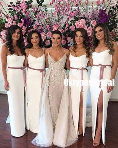 Mermaid Spaghetti Straps Long White Bridesmaid Dress with Sash Wedding Bridesmaid Dresses, Wedding Gowns, White Brides Maid Dresses, Different Bridesmaid Dresses, Bridesmaid Outfit, Bridal Gowns, Wedding Ideias, Sexy Dresses, Girls Dresses