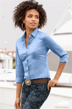 Turn-down Collar Pure Collar OL Slim Long Sleeves Blouse