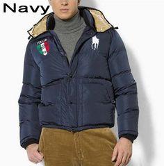 Polo Ralph Lauren Men Full Zip Italy Flag Down Jacket  Navy