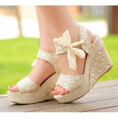 Summer Womens Sweet High Heel Wedge Platform Sandals Bowknot Ankle Shoes Beige = 1932127876 from Bling Bling Deals. Saved to Shoes. Platform Wedge Sandals, Platform High Heels, Open Toe Sandals, Wedge Heels, Shoes Heels, Red Platform, High Sandals, Women's Sandals, High Heels Plateau