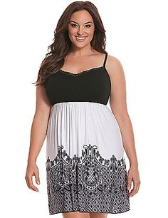 As decadently soft as it is feminine, you'll love to unwind in this lace border-print chemise from our luxurious Tru to You collection. Fit to flatter with a lace-trimmed V-neck and empire waist, this beautiful chemise is a gorgeous way to sleep or lounge. Adjustable lingerie straps provide a custom fit. lanebryant.com