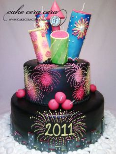 New Years Eve Fireworks Cake by Cake Cera Cera Pretty Cakes, Beautiful Cakes, Amazing Cakes, Cupcakes, Cupcake Cakes, Bonfire Night Cake, Fireworks Cake, 4th Of July Cake, New Year's Cake