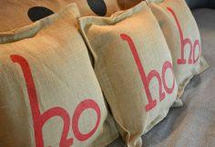 Painted Burlap Christmas Pillows… HO HO HO Silk Screened on Burlap