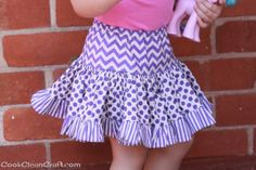 Tiered Gathered Skirt -- from 3 fat quarters of purple fabric