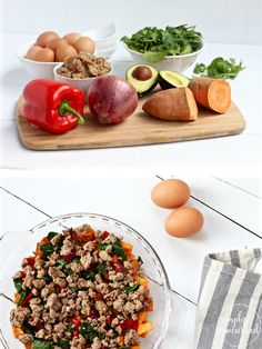 Sweet Potato Turkey Sausage Egg Bake  30-minute meal idea   This Sweet Potato Turkey Sausage Egg Bake combines a blend of ingredients creating a perfect sweet and savory dish. A freezer-friendly recipe   Paleo   Whole 30   Gluten-free  Dairy-free   http://simplynourishedrecipes.com/sweet-potato-turkey-sausage-egg-bake/
