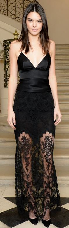 Kendall Jenner, black satin top
