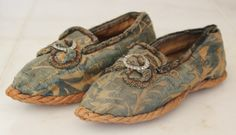 Extremely RARE Rope soled Children's Silk Brocade Shoes France Early Mid 18th C | eBay