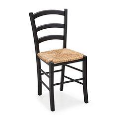 Chaise noire avec assise paille