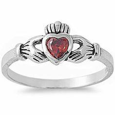 BEAUTIFUL SILVER CLADDAGH & GARNET CZ .925 Sterling Silver Ring