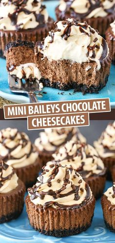 These Mini Baileys Chocolate Cheesecakes are easy to make and perfect for sharing! Made with Irish cream liqueur, they're also a great treat for St. Patrick's Day! Dessert Simple, Bon Dessert, Dessert Shots, Easy Mini Cheesecake Recipe, Baileys Cheesecake, Raspberry Cheesecake, Chocolate Cheesecake Cupcakes, Pumpkin Cheesecake Recipes, Mini Desserts