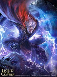 Artist: Kyoungmin Park aka kkomjirak - Title: legend of the cryptids - Card: Iruen the Arbiter (Cast Judgment)