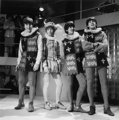 28th April 1964: The Beatles in tudor costumes during rehearsals for…
