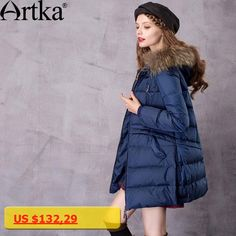 b824c34d15d Artka Womens Mid-Length Down Coat With Raccoon Fur Hood With 90% Down Parka