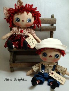 * Raggedy Ann y Andy Dolls ~ Lilly y Logan en Allisbright en Etsy,All is Bright: Lilly and LoganHow about a brother and sister act - introducing Logan and Lilly. I& had these two almost done for the last couple of weeks and fina. Ann Doll, Raggedy Ann And Andy, Sewing Dolls, Soft Dolls, Fabric Dolls, Doll Face, Softies, Doll Patterns, Beautiful Dolls