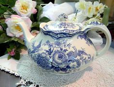 Pretty Blue And White Teapot.......