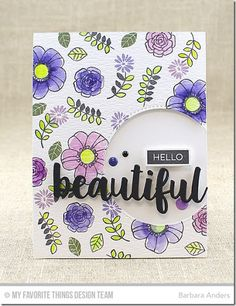 """started by stampingPretty PosiesonRanger Watercolor paperwithBlack Licorice hybrid inkand coloring them withPeerless Watercolors.Pretty Posiesis quickly becoming one of my very favorite flower stamp sets. I cut an off-center opening withInside & Out Stitched Circle STAX Die-namicsand popped it up on aSweet Tooth card stockbase with foam mounting tape. I added the """"beautiful"""" fromHello Beautiful Die-namics, layered three times for strength, and popped up over the opening on…"""