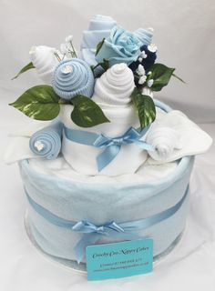 Two Tier Baby Clothes Nappy Cake Gift. £40,00, via Etsy.