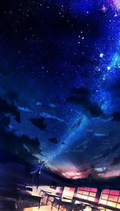 Anime picture original red flowers single tall image short hair highres standing holding sky cloud (clouds) night from behind night sky magic outstretched arm fantasy classroom painting ambiguous gender star (stars) 466303 en Anime Backgrounds Wallpapers, Anime Scenery Wallpaper, Galaxy Wallpaper, Animes Wallpapers, Sky Anime, Anime Galaxy, Fantasy Landscape, Landscape Art, Aesthetic Art